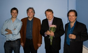 The first four music directors of the Wooburn Singers at the 40th Anniversary Party in May 2007. Left to right: Greg Beardsell, Stephen Jackson, Richard Hickox and Jeremy Backhouse.